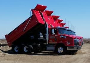 "Picture of Tandem Trucks (Dump) all lined up for a ""show"" shot"