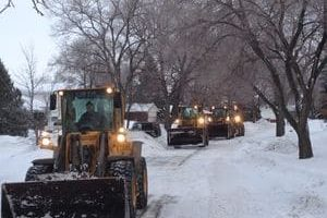 Picture of Front End Loaders plowing snow